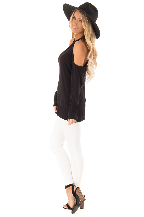 Black Cold Shoulder Criss Cross Strap Top with Long Sleeve side full body