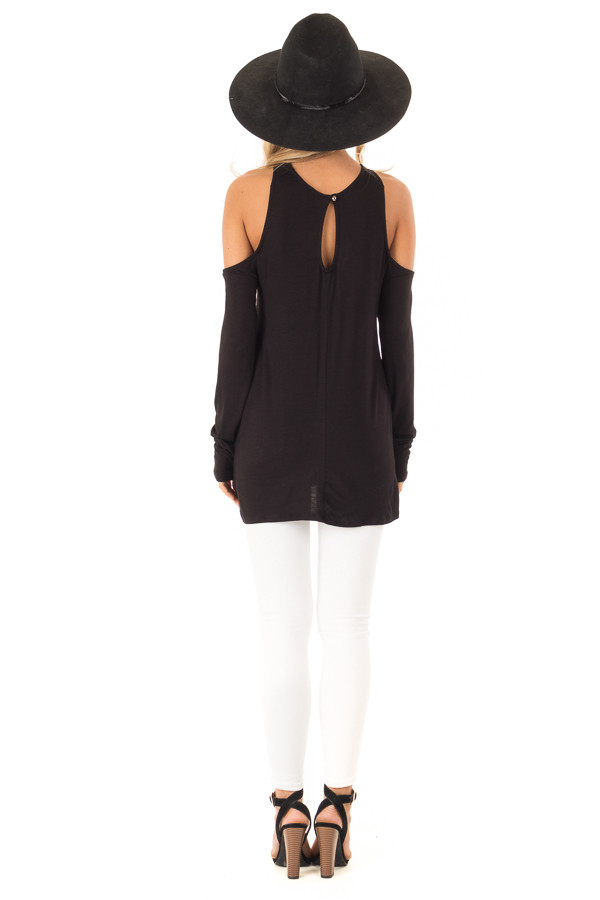 Black Cold Shoulder Criss Cross Strap Top with Long Sleeve back full body