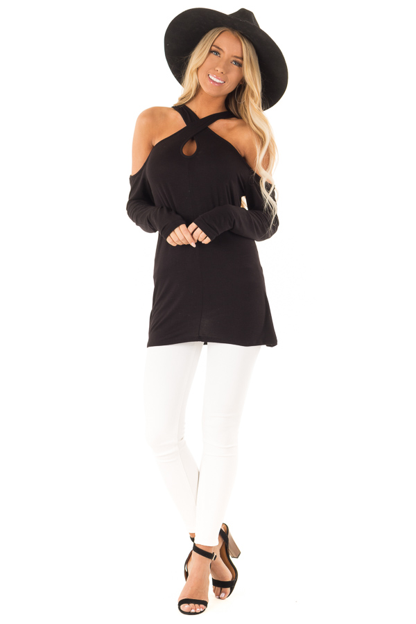 Black Cold Shoulder Criss Cross Strap Top with Long Sleeve front full body