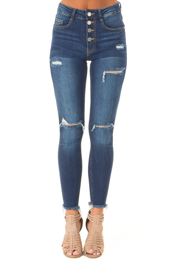 Dark Wash High Waisted Skinny Jeans with Distressed Details front view