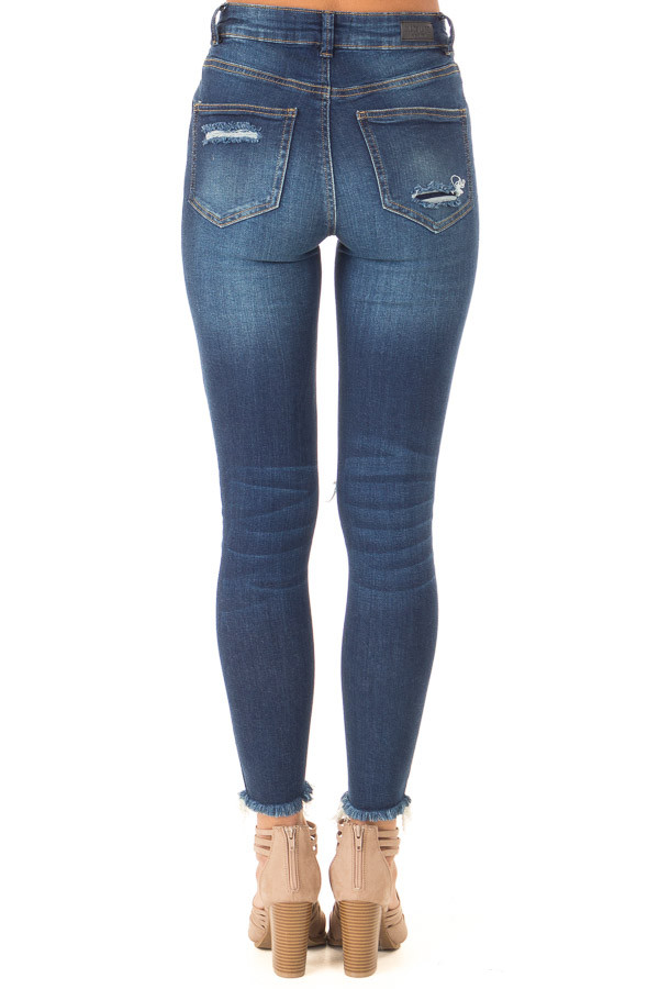 Dark Wash High Waisted Skinny Jeans with Distressed Details back view