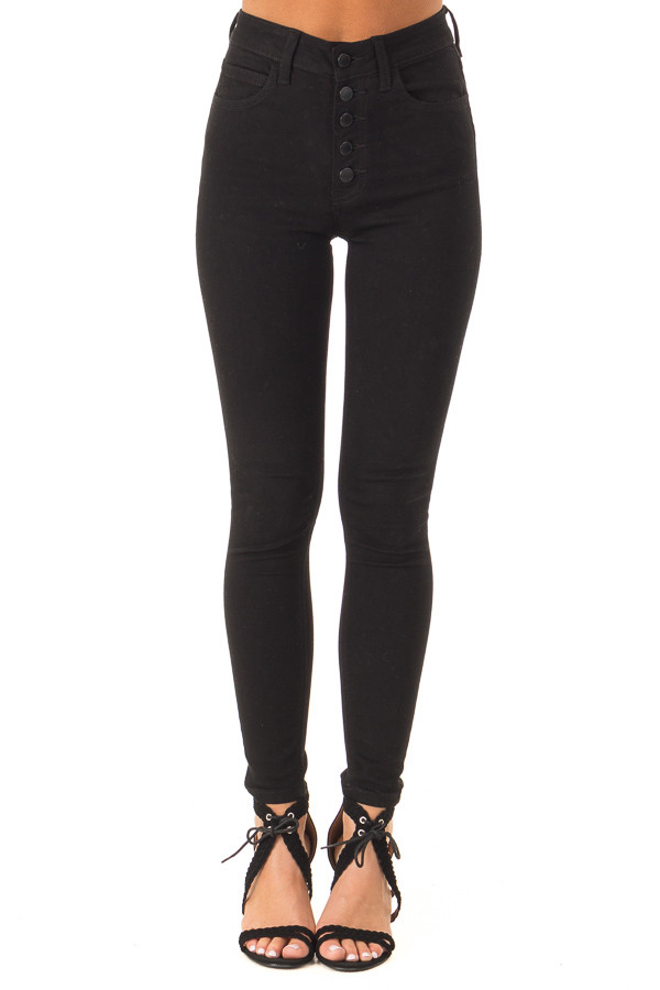 Ink Black Button Up High Rise Skinny Jeans front view