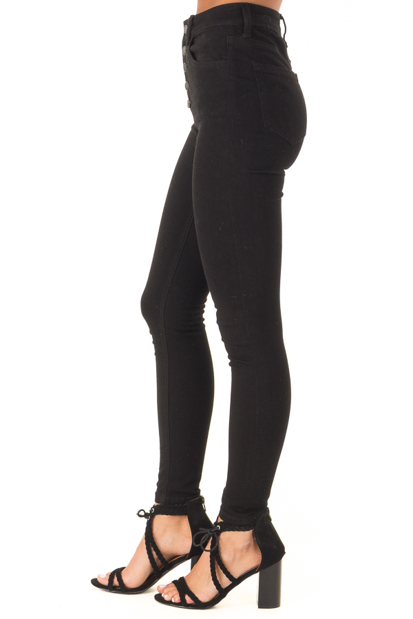 Ink Black Button Up High Rise Skinny Jeans side view