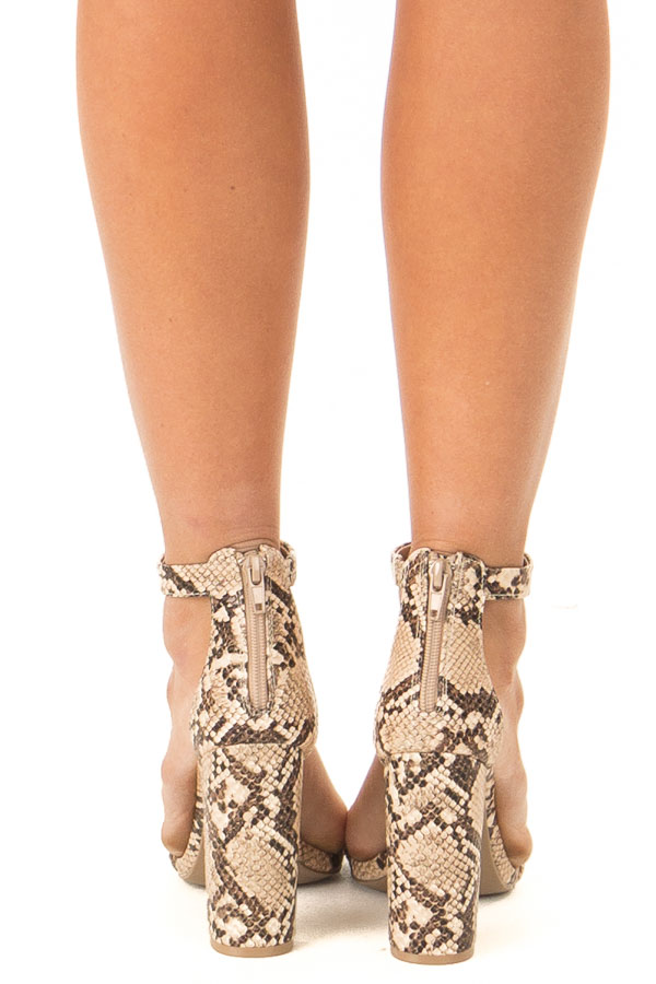 Beige and Mocha Snake Print High Heels with Ankle Strap back view