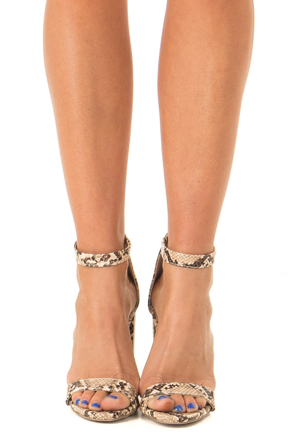 Beige and Mocha Snake Print High Heels with Ankle Strap front view