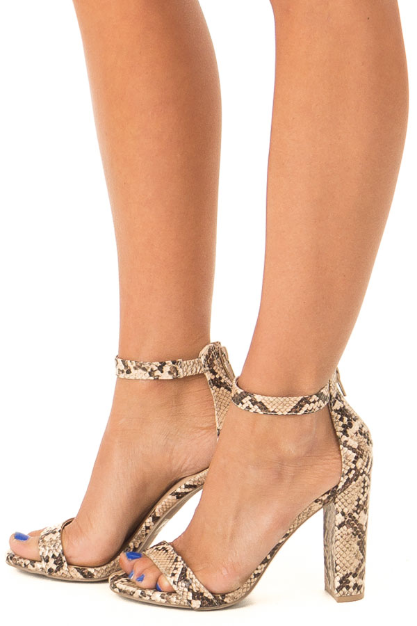 Beige and Mocha Snake Print High Heels with Ankle Strap side view