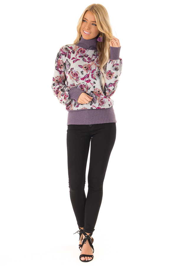 Ash Grey and Lilac Floral Turtleneck Top with Puff Sleeves front full body