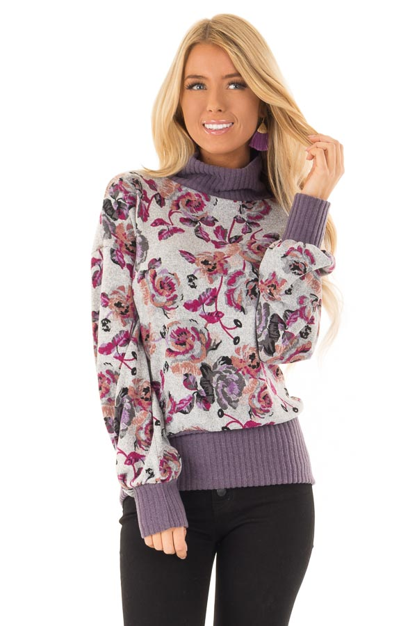 Ash Grey and Lilac Floral Turtleneck Top with Puff Sleeves front close up