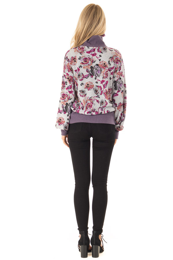 Ash Grey and Lilac Floral Turtleneck Top with Puff Sleeves back full body