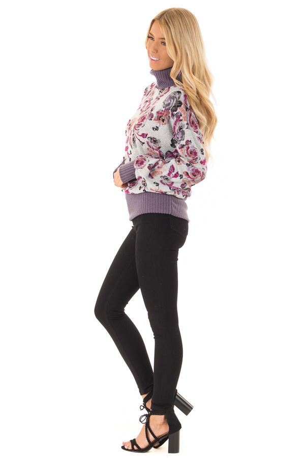 Ash Grey and Lilac Floral Turtleneck Top with Puff Sleeves side full body