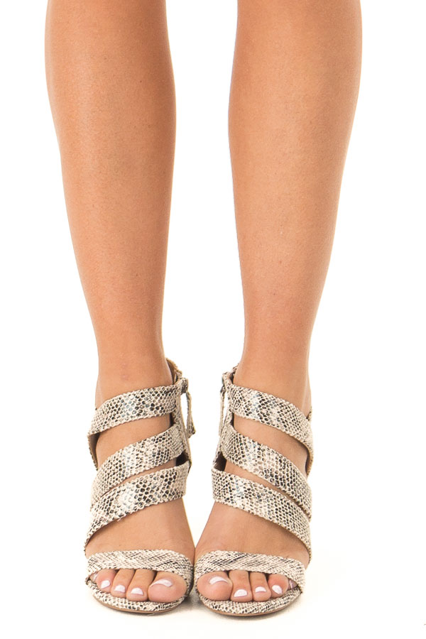 Beige and Black Snakeskin Strappy Chunky Heel front view