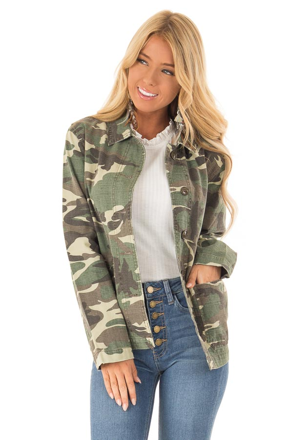 26ac892c Army Green Button Up Camo Jacket with Front Pockets - Lime Lush Boutique