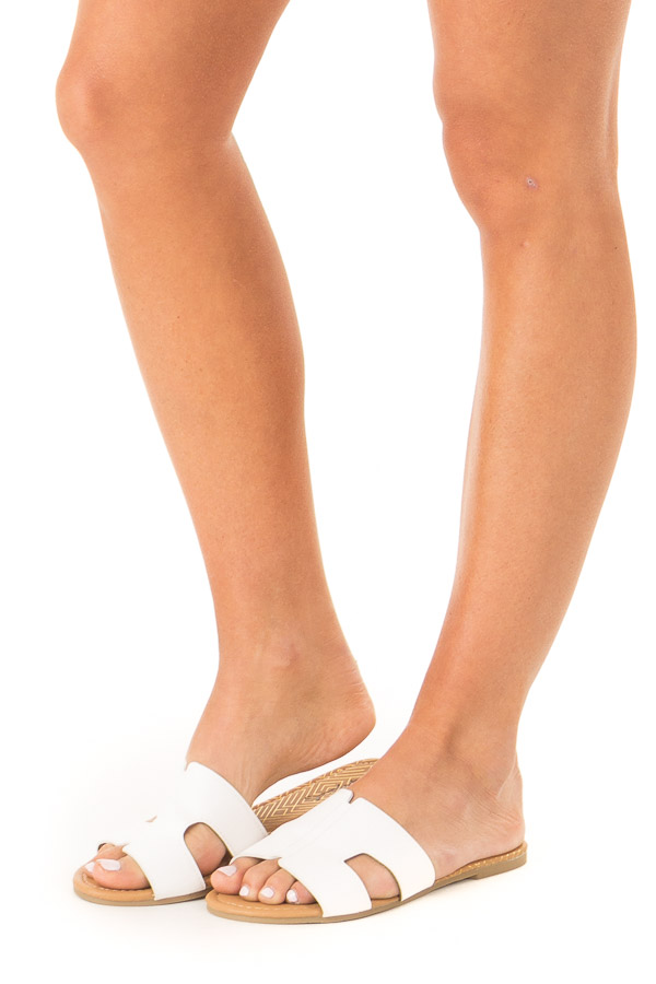 White Slip On Sandal with Cut Out Detail side view