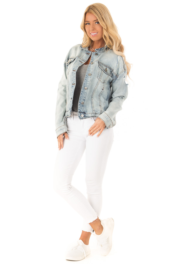 Light Wash Distressed Button Up Denim Jacket front full body