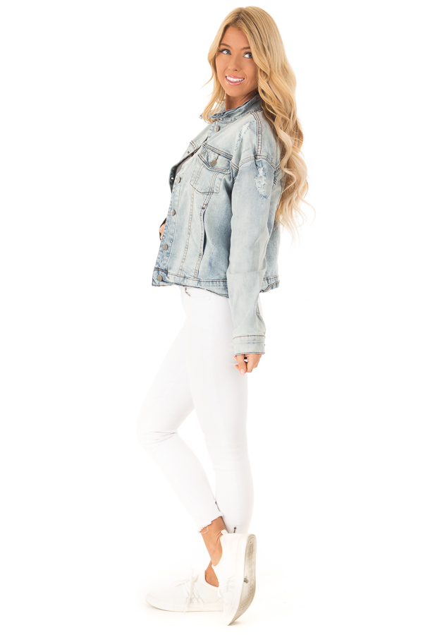 Light Wash Distressed Button Up Denim Jacket side full body
