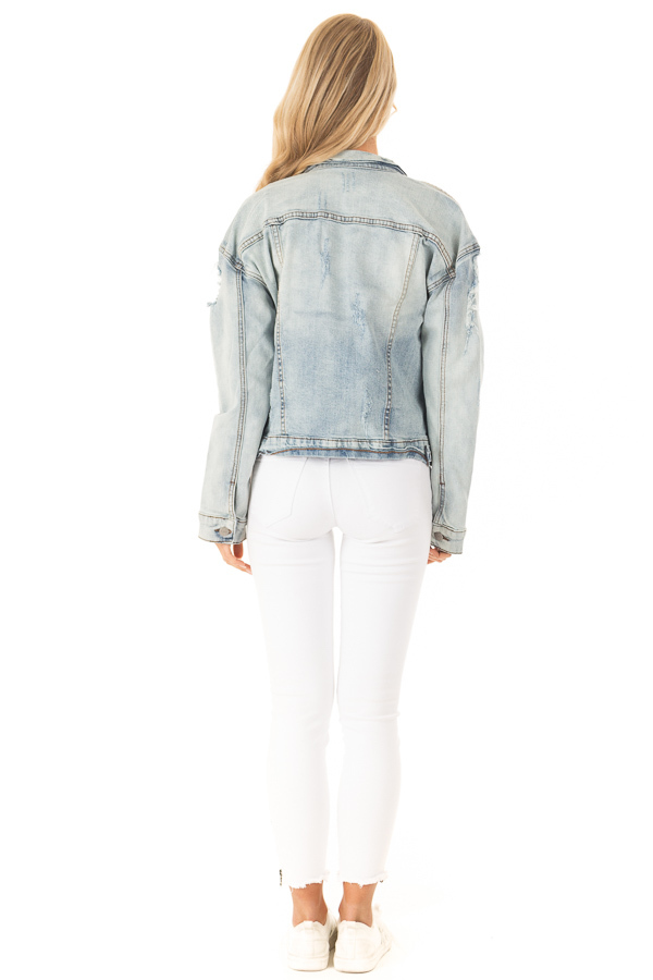 Light Wash Distressed Button Up Denim Jacket back full body