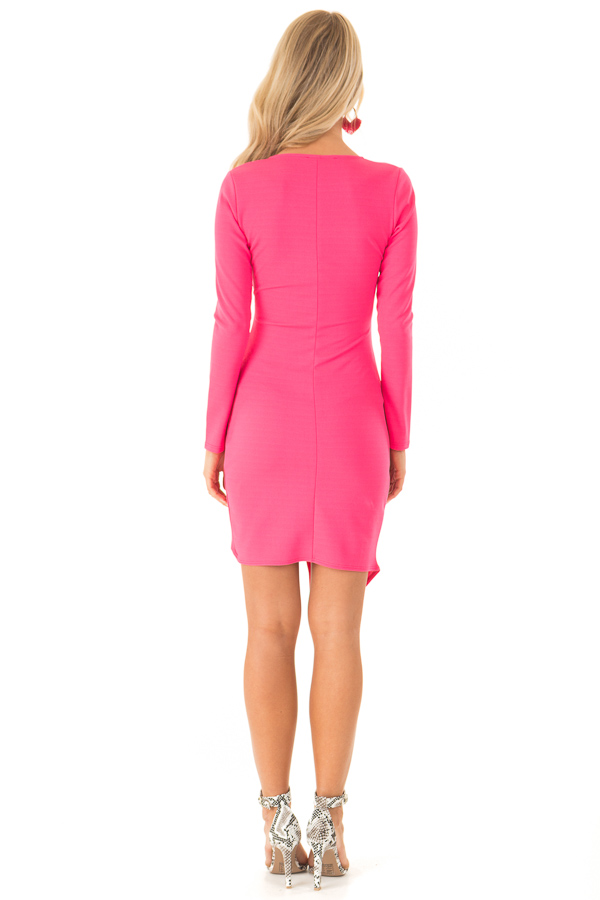 Hot Pink Long Sleeve Fitted Dress with Slit and Gather back full body