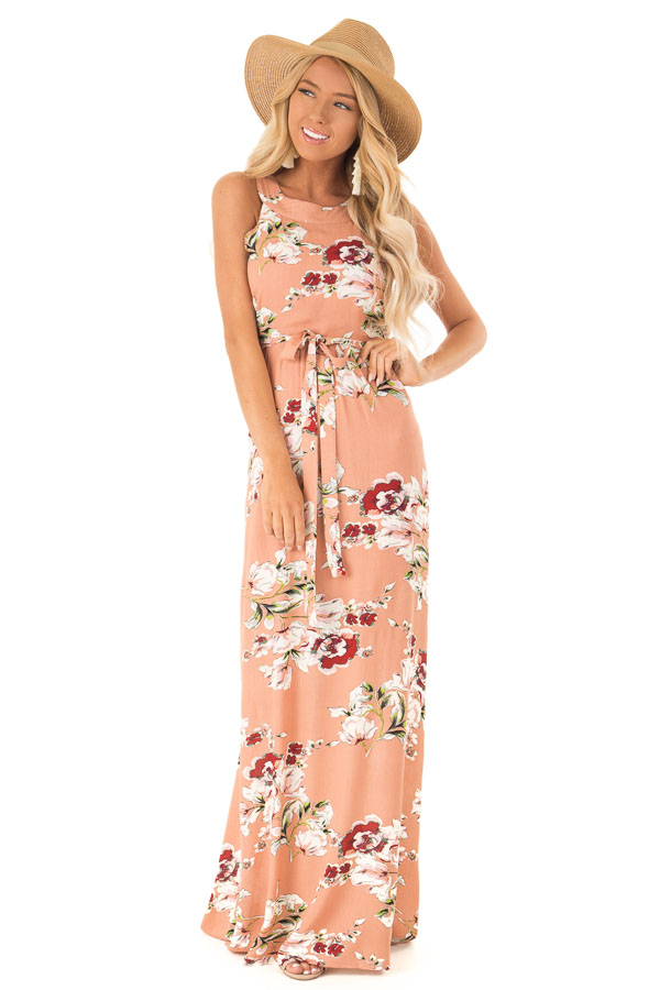 ef4b5286a Dusty Peach Floral Print Halter Top Maxi Dress with Tie front full body