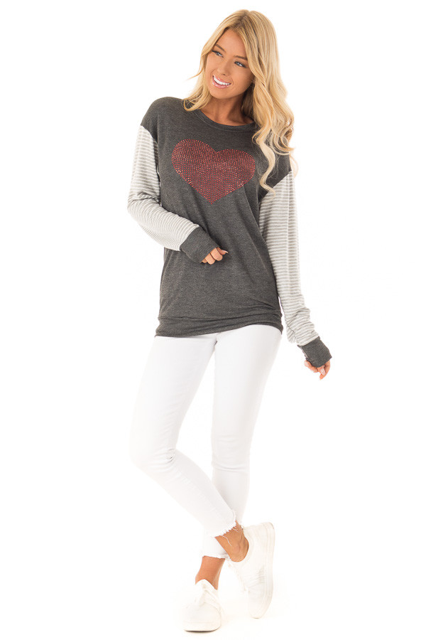 Charcoal Long Sleeve Top Ruby Red Rhinestone Heart Detail front full body