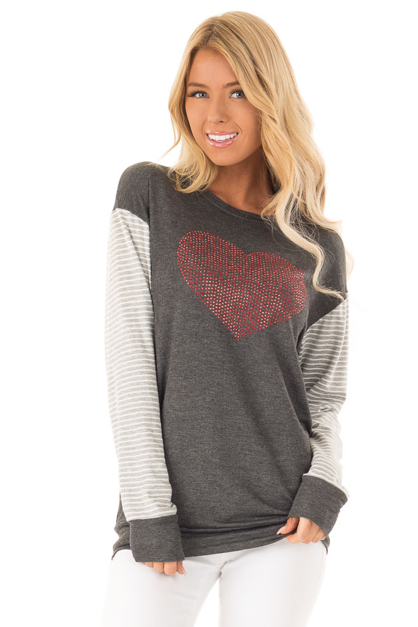 Charcoal Long Sleeve Top Ruby Red Rhinestone Heart Detail front close up