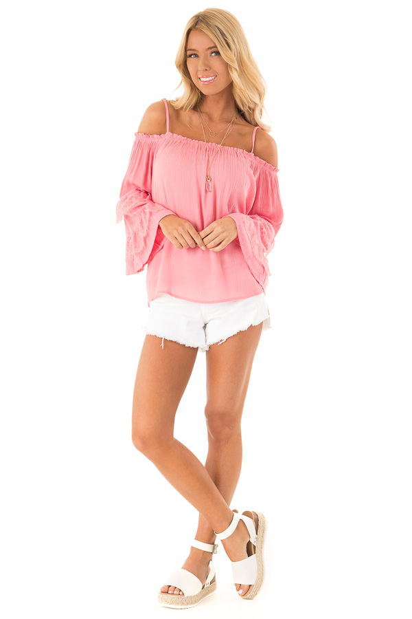 Carnation Pink Off the Shoulder Top with Lace Bell Sleeves front full body