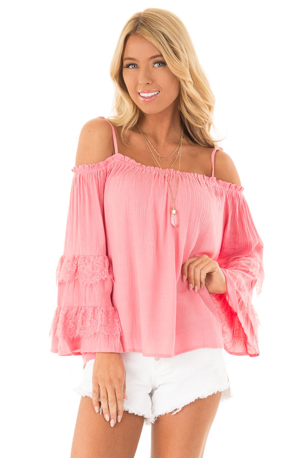 Carnation Pink Off the Shoulder Top with Lace Bell Sleeves front close up
