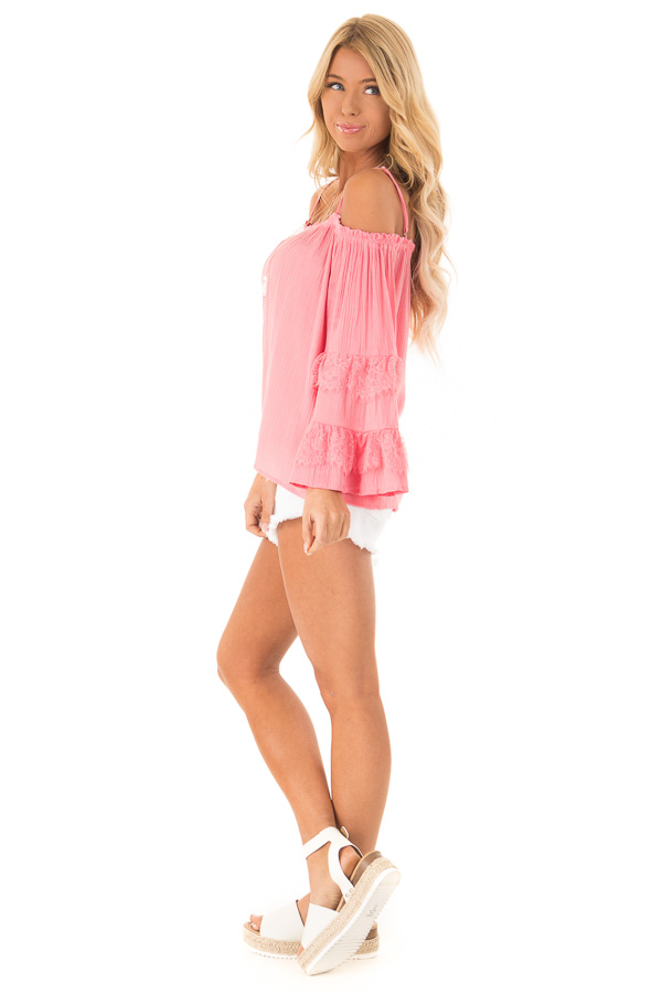 Carnation Pink Off the Shoulder Top with Lace Bell Sleeves side full body