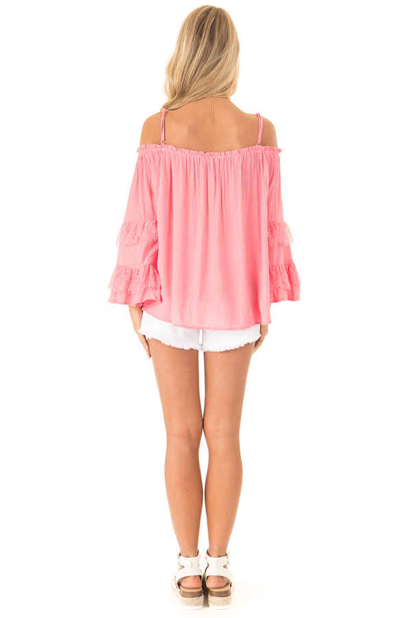 Carnation Pink Off the Shoulder Top with Lace Bell Sleeves back full body