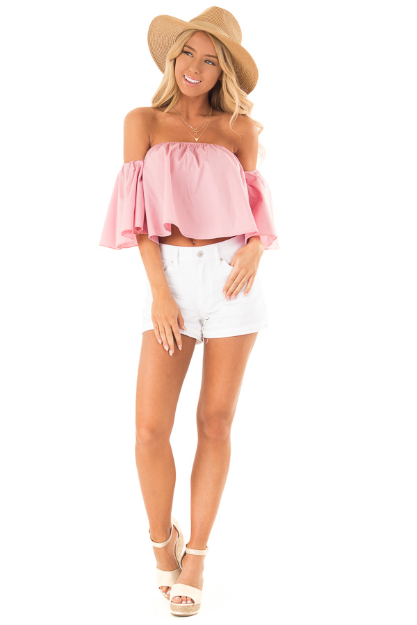 Blush Off the Shoulder Short Sleeve Crop Top front full body