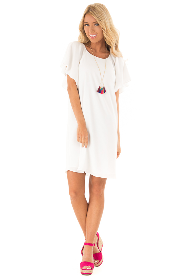 d2ee9be76c6b ... Off White Mini Shift Dress with Short Ruffle Sleeves front full body ...