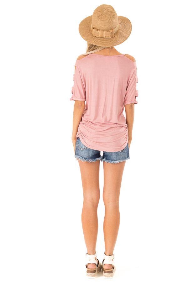 Dusty Rose Ladder Cut Out Sleeves Top with Ruched Sides back full body