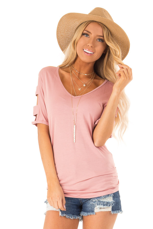Dusty Rose Ladder Cut Out Sleeves Top with Ruched Sides front close up