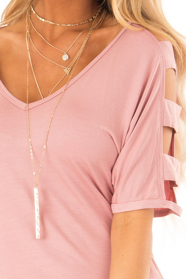 Dusty Rose Ladder Cut Out Sleeves Top with Ruched Sides detail