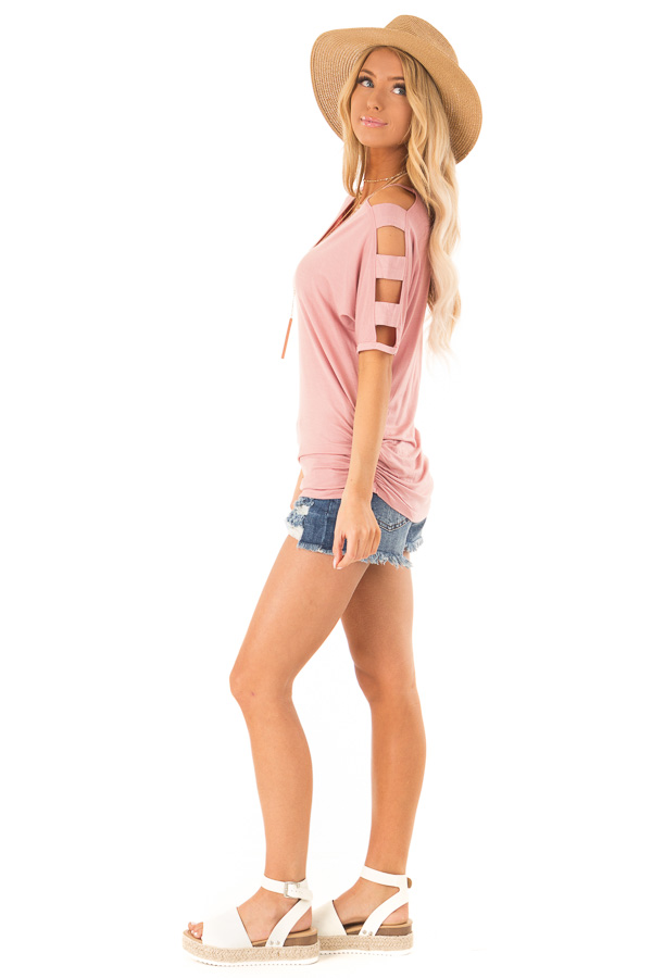 Dusty Rose Ladder Cut Out Sleeves Top with Ruched Sides side full body