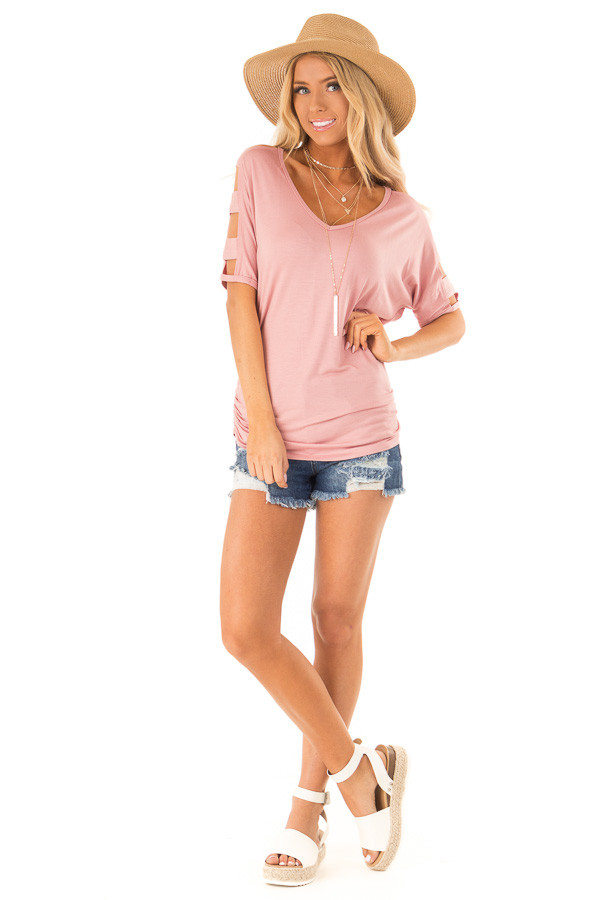 Dusty Rose Ladder Cut Out Sleeves Top with Ruched Sides front full body