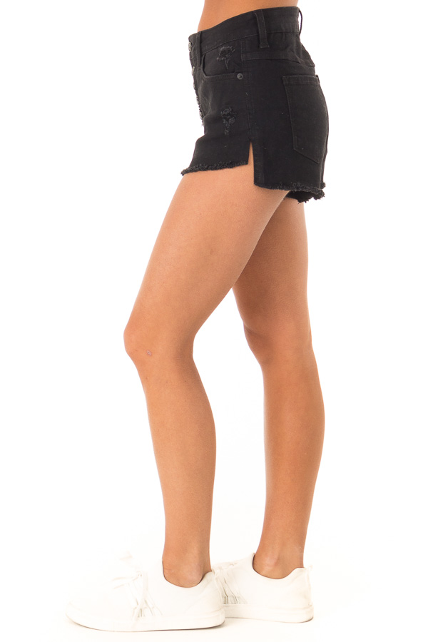 Black Distressed Button Up Denim Shorts with Pockets side view