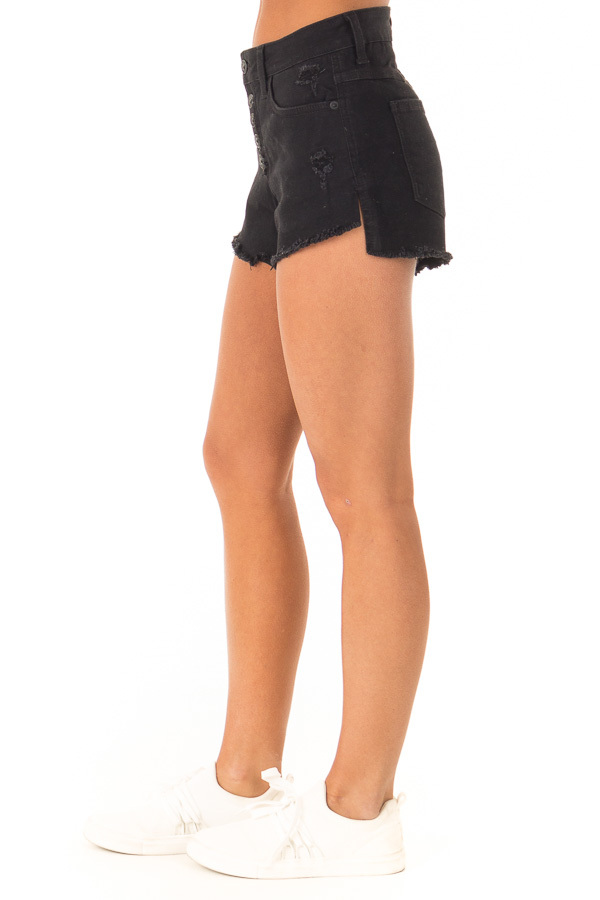 Black Distressed Button Up Denim Shorts with Pockets