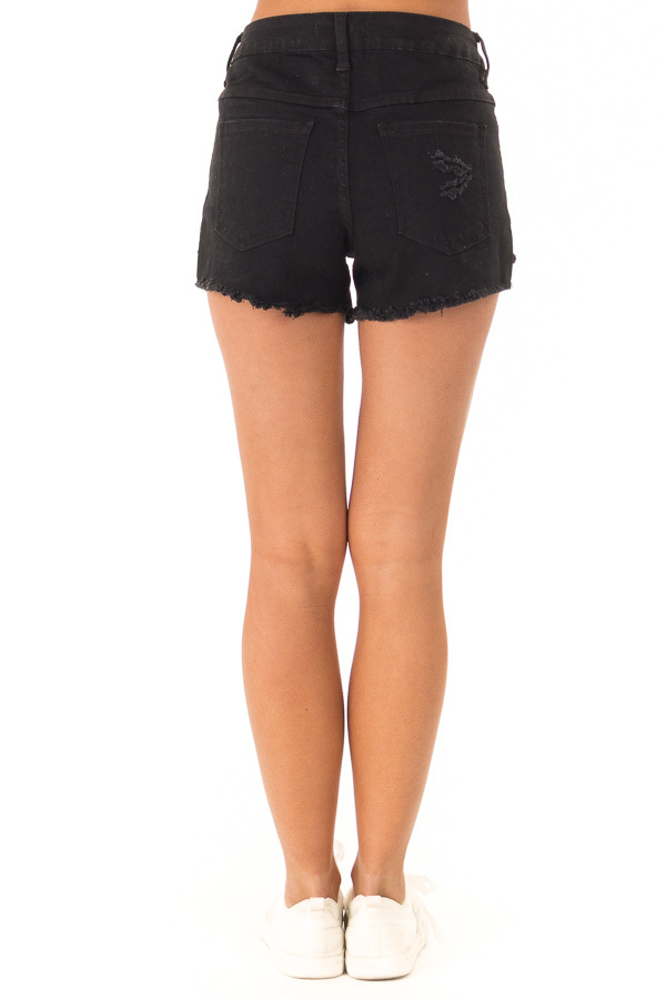 Black Distressed Button Up Denim Shorts with Pockets back view