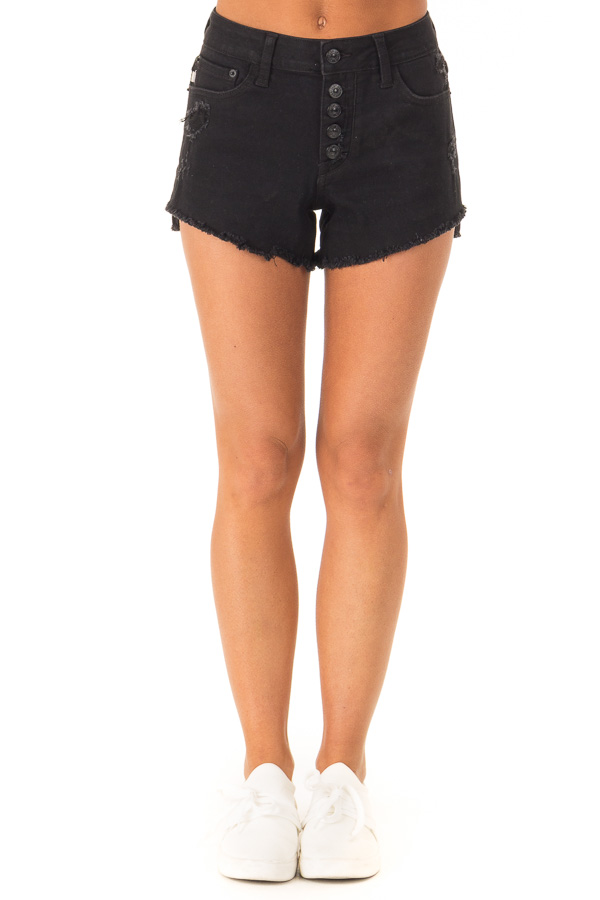 Black Distressed Button Up Denim Shorts with Pockets front view