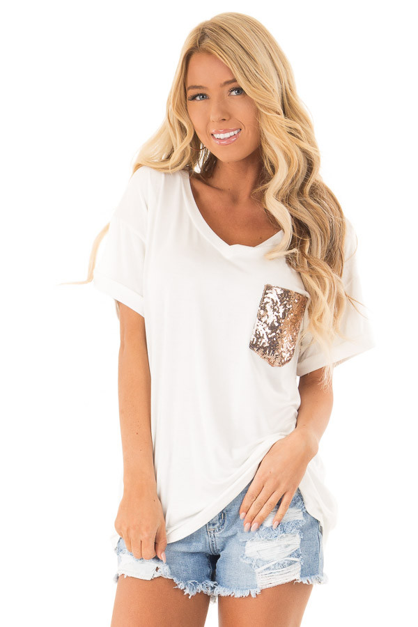 Off White Short Sleeve Top with Sequin Pocket Detail front close up