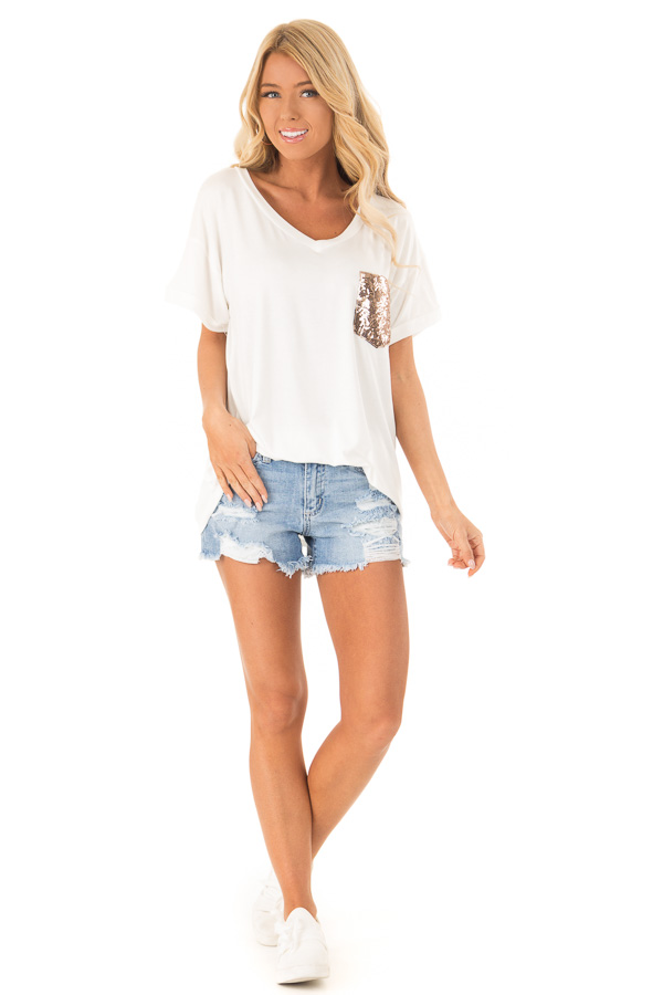 Off White Short Sleeve Top with Sequin Pocket Detail front full body
