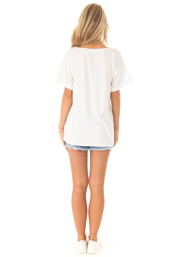 Off White Short Sleeve Top with Sequin Pocket Detail back full body