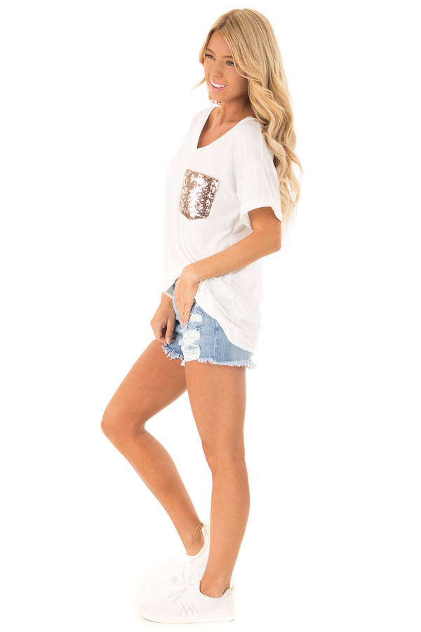 Off White Short Sleeve Top with Sequin Pocket Detail side full body