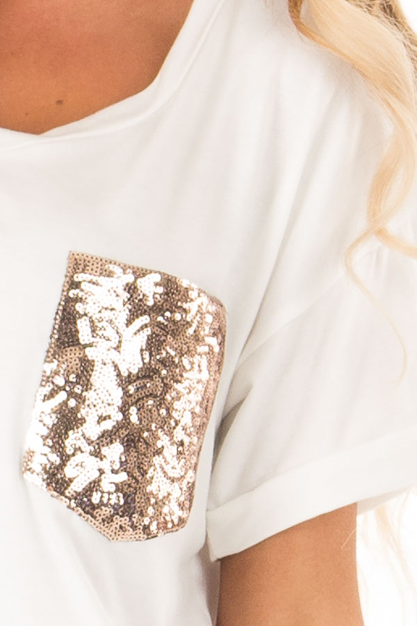 Off White Short Sleeve Top with Sequin Pocket Detail detail
