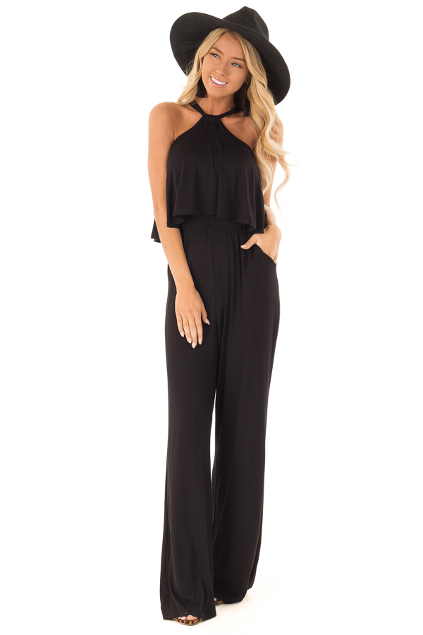 Raven Black Halter Jumpsuit with Overlay Detail front full body