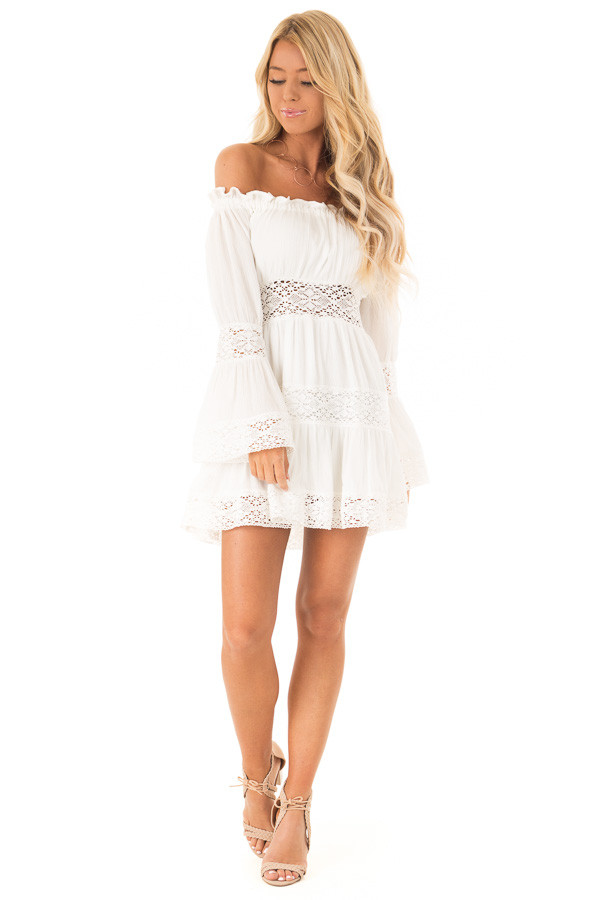 Eggshell Off the Shoulder Long Sleeve Dress with Lace Detail front full body