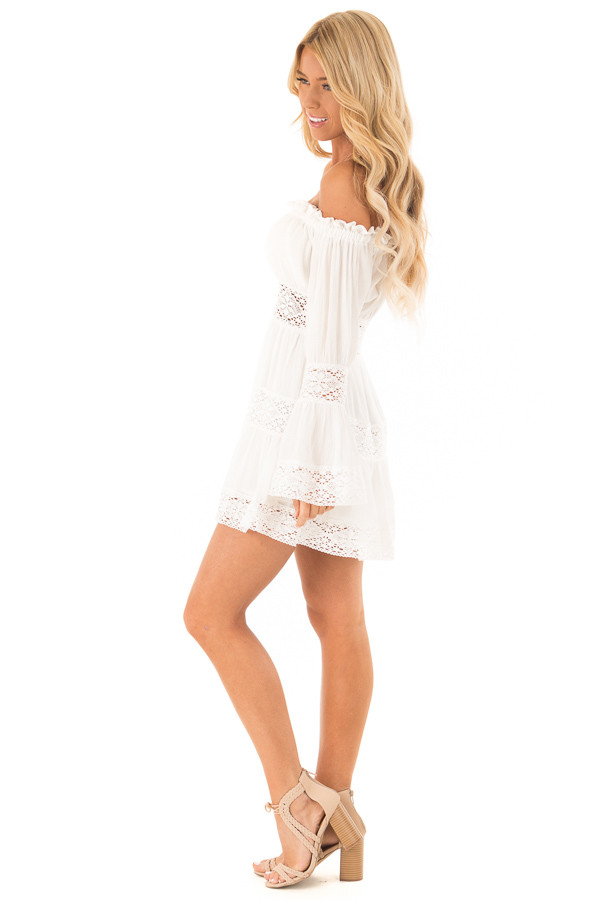 Eggshell Off the Shoulder Long Sleeve Dress with Lace Detail side full body