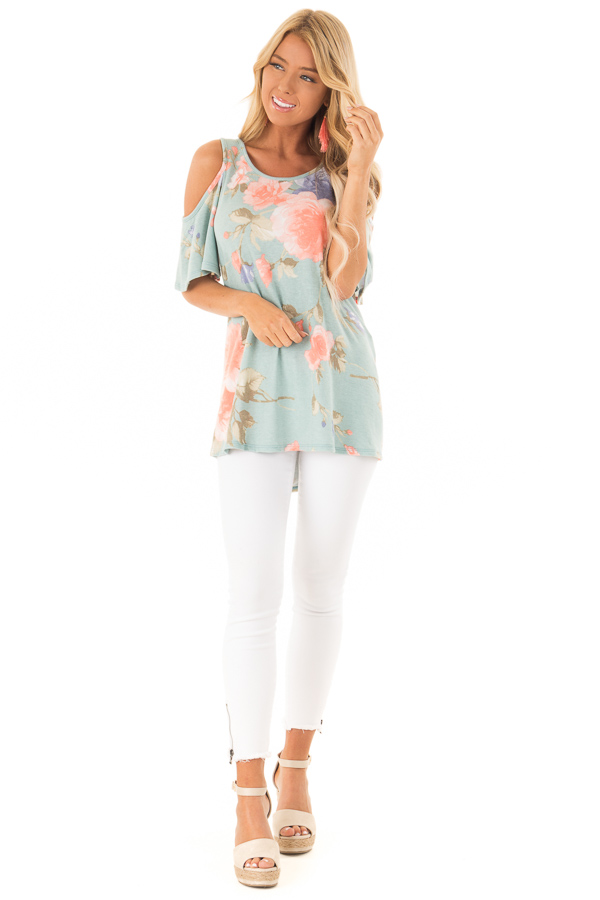 e9bf77e1887c13 Dusty Teal French Terry Floral Print Cold Shoulder Top front full body