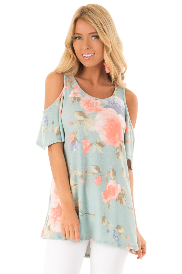 618784bd2a79cb Dusty Teal French Terry Floral Print Cold Shoulder Top - Lime Lush ...