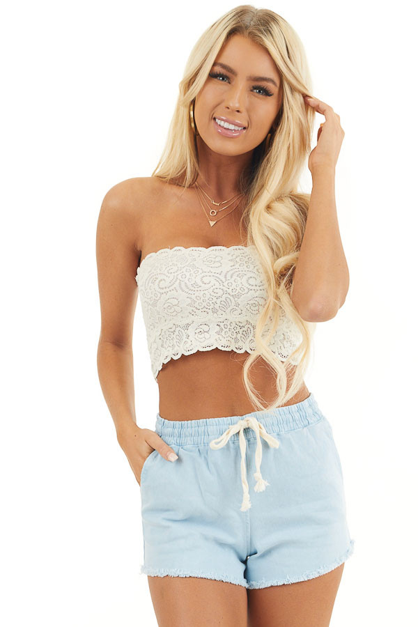 Cream Lace Bandeau Bra with Scallop Detail